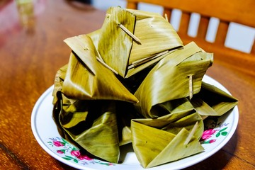Thai caramel in banana leaf