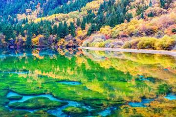 beauty autumn in jiuzhaigou