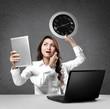 busy multitasking businesswoman