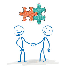 Stickman Handshake Puzzle Pieces