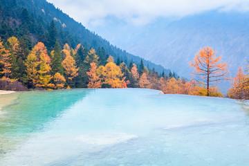 beautiful huanglong autumn scenery in China