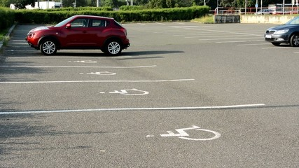 parking spaces in the parking lot for the disabled