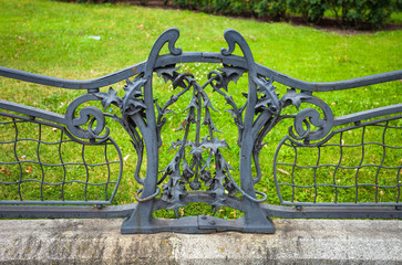 Detail of iron decoratif fence from French Embassy front garden