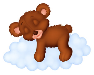 Cute bear sleeping on the cloud