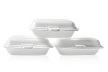 Stack of Styrofoam takeaway boxes on white: Clipping path