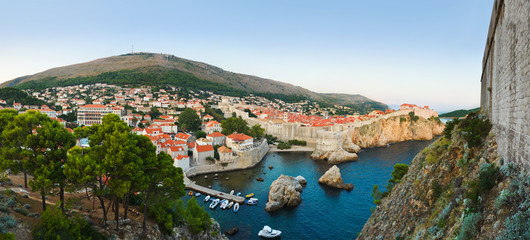 Panorama of Dubrovnik, Croatia at sunset
