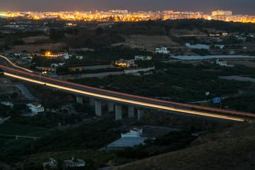 Autoroute motorway freeway bridge at night