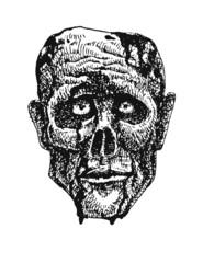 zombie head. hand drawn. vector eps8