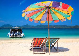 Beach chair on koh Khai island, Krabi, Thailand