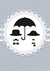 abstract retro couple under umbrella