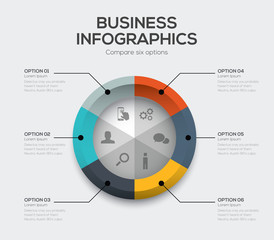 Business options vector. Modern ui infographics with six choices