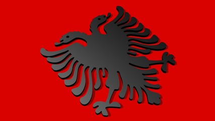 albania 3d national flag
