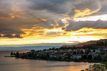 Sunset seen from Montreux