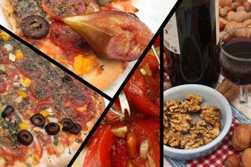 Tapas : Pizza au chorizo  Vin rouge Poivron grillé