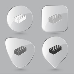 Hollow brick. Glass buttons. Vector illustration.