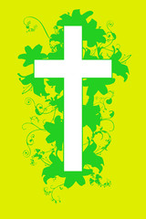 christian cross and plant  20