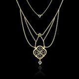 Golden necklace isolated on black background - 68792194
