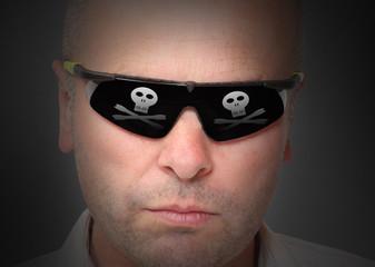 Portrait of dangerous hacker with virtual glasses.