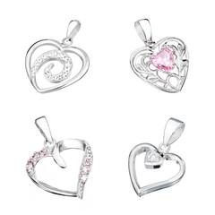 Set of silver pendant in shape of heart
