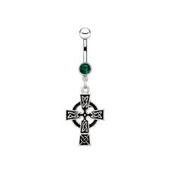 Silver piercing in the shape of celtic cross