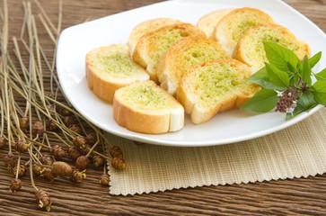 Homemade garlic  bread with fresh herb