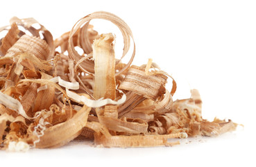 Wood shavings isolated on white