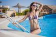 beautiful, woman in pool