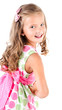 Happy cute little girl in princess dress isolated