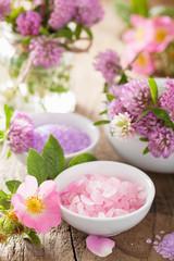 spa with wild rose clover flower salt