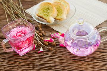 Homemade garlic bread and tea pot ,afternoon tea break