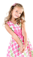 Adorable smiling little girl in princess dress isolated