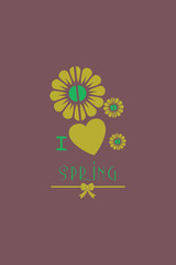 Vector illustration with heart flower spring and