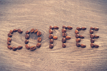 word coffee on a wooden background