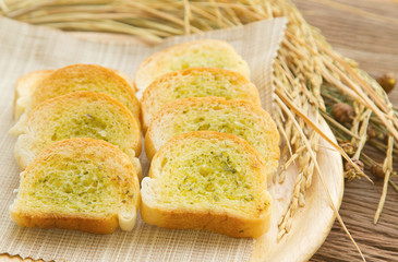 Homemade garlic  bread with paddy rice