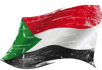 waving sudanese grunge flag