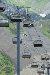 mountain cable railway in the Rosa Khutor, Sochi, Russia