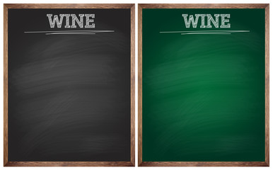 isolated wine black and green blackboards or chalkboards