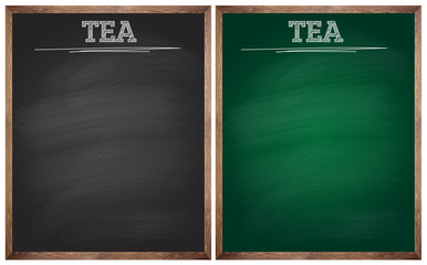 isolated blank black and green tea blackboards or chalkboards