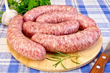 Sausages pork on blue cloth