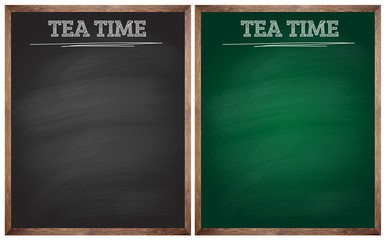 isolated blank black and green tea time blackboards or chalkboar