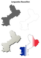 Languedoc-Roussillon blank detailed outline map set