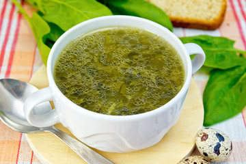 Soup of greens on the fabric with a spoon