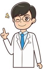人差し指を立てるドクター