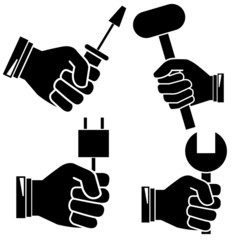 hand holding tools