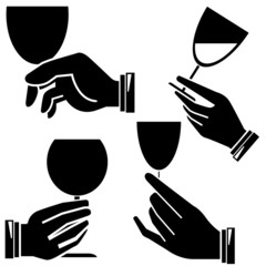 hand holding wine glass set
