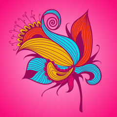 Exotic flower on pink background.