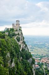 Guaita fortress on Monte Titano with San Marino city in backgro