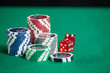 Blackjack In A Casino ,Chips And Red Dice