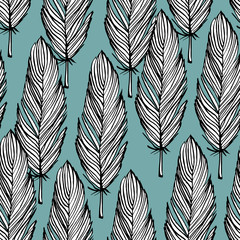 Blue and white feather seamless pattern