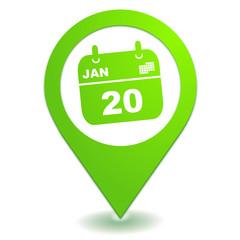 agenda rendez vous sur symbole localisation vert